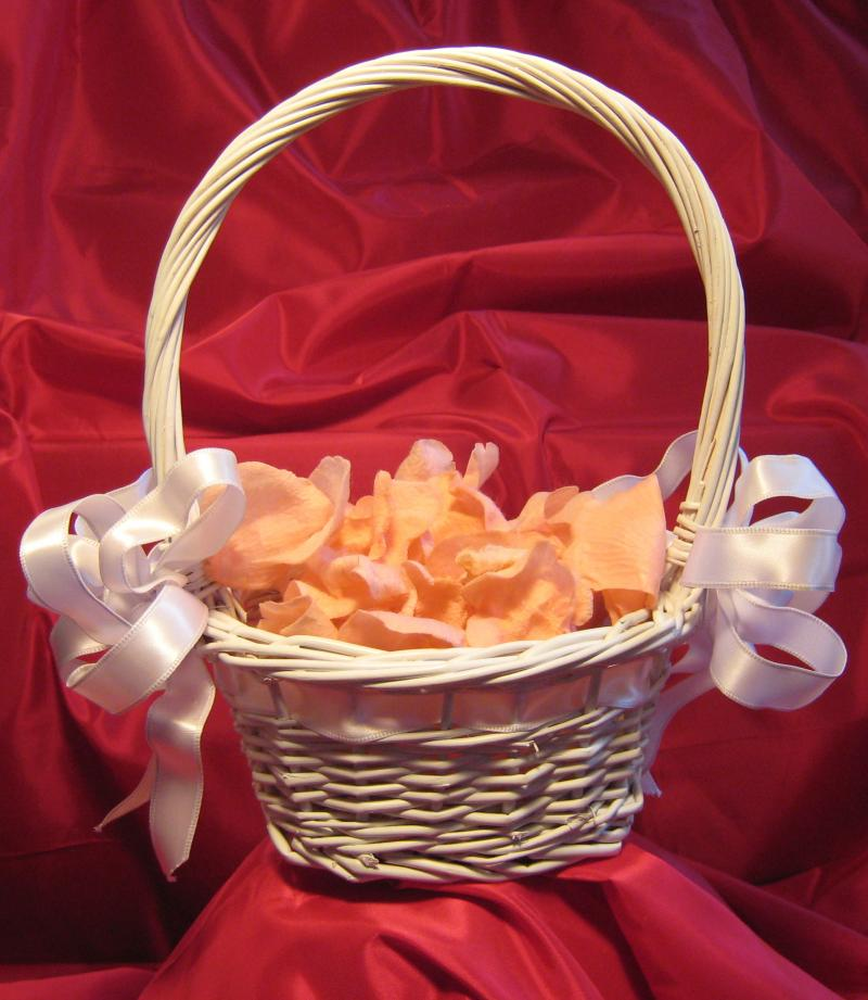 Originals by stephanie for the flower girl two white satin bows make this white basket a perfect accessory for any color scheme g 53 25 silk petals included in pink peach or white mightylinksfo